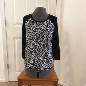 Women's Top With Leopard Print and Black Sleeves